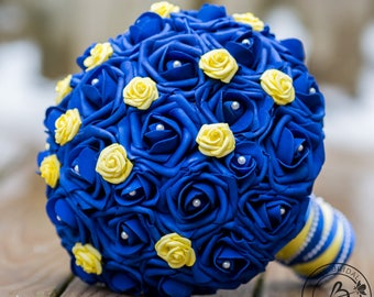Royal blue wedding bouquet blue and yellow bridal bouquet etsy royal blue wedding bouquet blue and yellow bridal bouquet silk wedding bouquet fake bouquet artificial bouquet princess bouquet mightylinksfo
