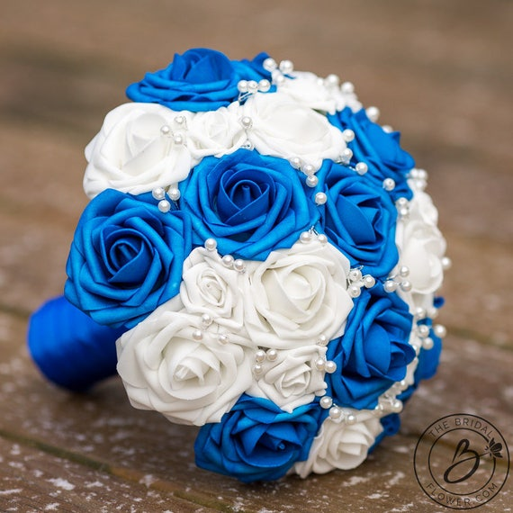Royal blue wedding bouquet white bridal bouquet sapphire etsy image 0 mightylinksfo