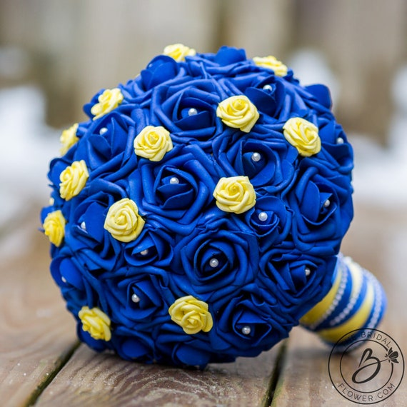 Royal blue wedding bouquet blue and yellow bridal bouquet etsy image 0 mightylinksfo