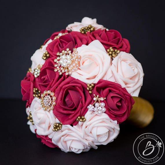Burgundy red brooch bouquet blush pink wedding bouquet dark etsy image 0 mightylinksfo