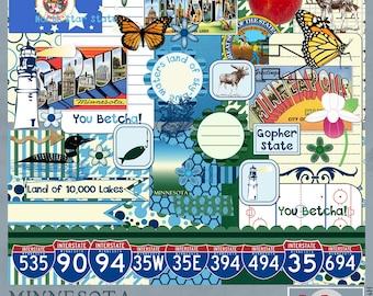 Minnesota Travel and Vacation Adventures Digital Scrapbook Kit