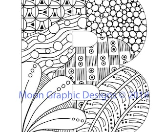 Monogram Letter B Adult Coloring Page