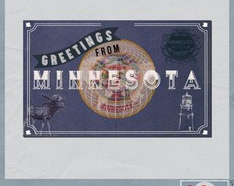 Minnesota Vintage Digital Postcard