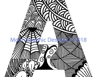 Monogram Letter A Adult Coloring Page