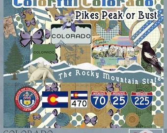 Colorado Travel and Vacation Adventures Digital Scrapbook Kit