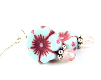 Everyday Earrings - Glass Beads & Sterling Silver - Light Turquoise/Aqua/Blue/Red/Pink/Cherry - Flower - Pansy - Violet - Garden - Spring