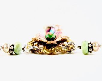 Bloom Necklace  - Vintage Pieces, Swarovski, Pink & Green Opal, Pearls, Sterling Silver - Flower - Mint Green/Salmon - Adjustible - LIMITED!