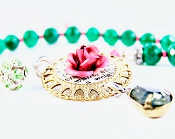 Veronica Necklace  - Vintage Crystals, Flower & Brass Stamping, Green Onyx, Pearls, Glass Beads, Sterling - Emerald/Fuchsia - Adjustable