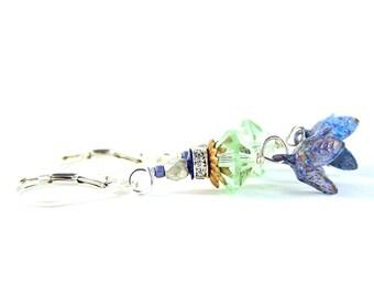 First Buds Of Spring Earrings - Vintage Enamel Flowers, Rhinestones, Swarovski Crystal, Silver - Tulip - Periwinkle/Purple/Peridot/Green