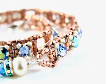 Almost Diamonds Bracelet - Beadweaving - Vintage Swarovski Crystal Rhinestones, Glass Beads, & Sterling Silver  - Aqua/Copper - Adjustable