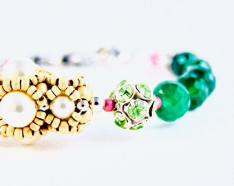 Hand Of Destiny Bracelet - Beadweaving - Vintage Rhinestone, Swarovski Crystal, Green Onyx, Pearl, Glass Beads, Sterling Silver - Adjustable