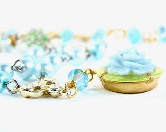 Phoebe Necklace - Vintage Pendant, Glass Pearls, Rhinestones - Swarovski Crystal, Glass Beads, Sterling Silver - Aqua/Blue/Peridot/Green