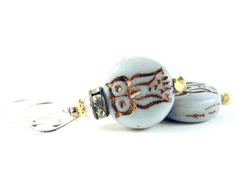 Patchwork Earrings - Glass Beads, Vintage Rhinestones, Gold Vermeil & Sterling Silver - Wise Owl - Grey/Brown/Bronze/Black/Gold/Silver Hoot