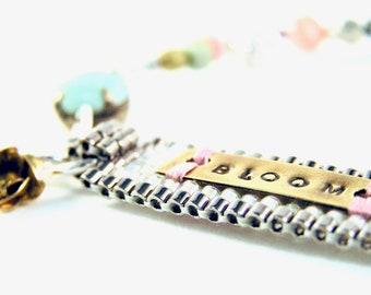 Affirmatipn Bracelet - Beadweaving - Handstamped Brass, Vintage, Swarovski Crystals, Glass Beads, Sterling Silver - BLOOM - Pink/Green/Linen