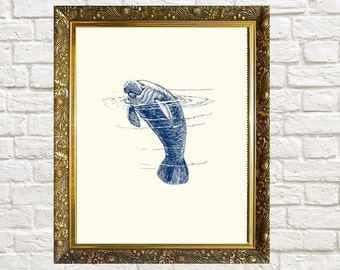Manatee Nautical Art Print Bathroom Art Wall Decor Coastal Print Manatee Wall Art