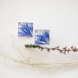 Cornflower Cufflinks with Real Blue Cornflower Petals in White Resin Cabochons UK Seller