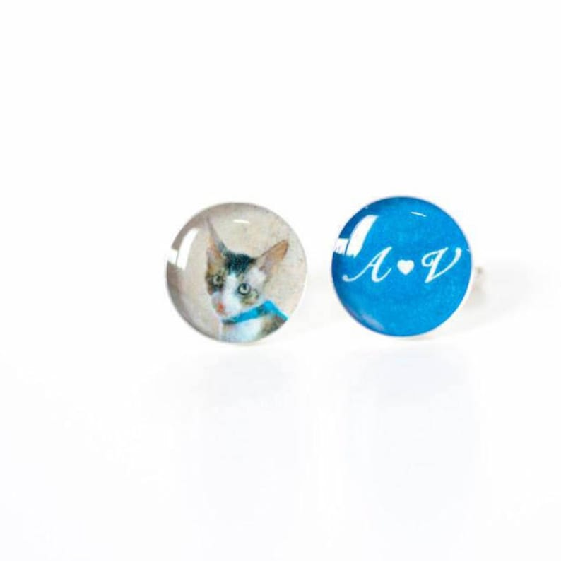 Personalized cuff links for men Cuff links with cat photo Cat souvenirs Birthday cuff links Cat lover gift Pet lovers gift