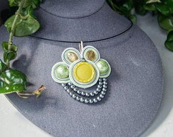 Devo Hand Embroidered Soutache PinNecklace