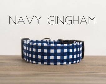 Navy Blue and White Gingham Dog Collar
