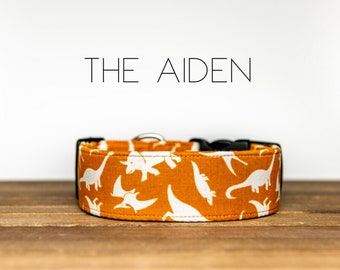 """Rust and White Dinosaur Dog Collar """"The Aiden"""""""
