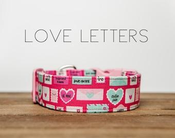"Valentine's Day Pink Envelope Heart Dog Collar "" Love Letters """