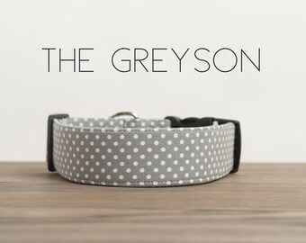 "Modern Grey Vintage Inspired Dog Collar ""The Greyson"""