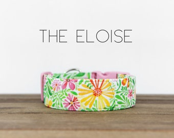 """Pink, Green & Yellow Modern Spring Floral Dog Collar """"The Eloise"""""""