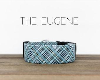 "Modern Menswear Inspired Blue Plaid Dog Collar ""The Eugene"""