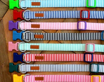 Classic Colorful Stripe Dog Collars - Various Colors Available