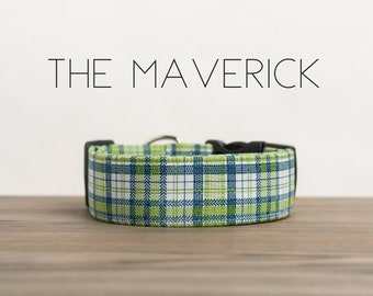 "Preppy Blue, White & Green Plaid Dog Collar ""The Maverick"""