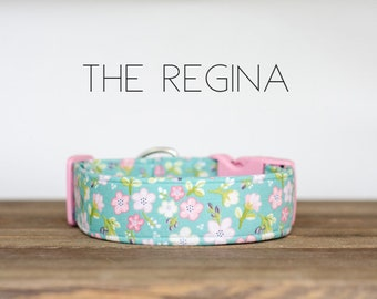 "Light Blue and Pink Modern Vintage Summer Floral Dog Collar ""The Regina"""