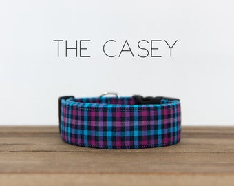 "Purple, Magenta and Blue Modern Checked Plaid Dog Collar ""The Casey"""