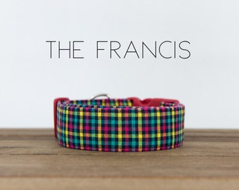 """Red, Blue, Yellow and Turquoise Modern Checked Plaid Dog Collar """"The Francis"""""""