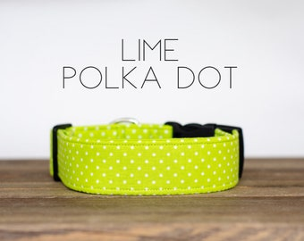 Lime Polka Dot Dog Collar