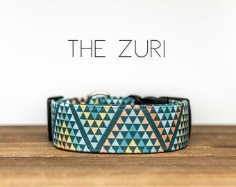 "Colorful Geometric Triangle Dog Collar ""The Zuri"""