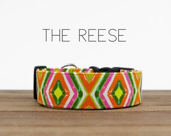 "Pink, Orange and Green Geometric Dog Collar ""The Reese"""