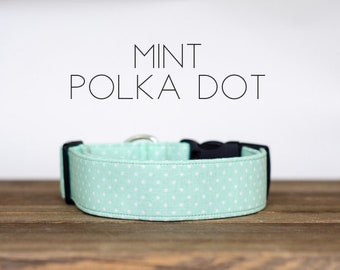 Mint Polka Dot Dog Collar