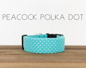 """Modern Classic Fashion Inspired Dog Collar """"Peacock Polka Dot"""""""