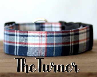 "Navy, White & Dark Orange Plaid Dog Collar ""The Turner"""