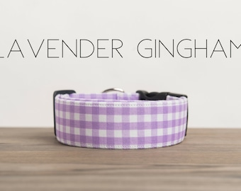 Lavender and White Gingham Checked Dog Collar