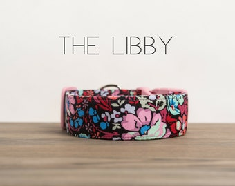 "Pink, Coral, Cornflower & Ice Frappe Floral Vintage Inspired Dog Collar ""The Libby"""