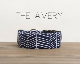 "Dark Navy & White Abstract Geometric Dog Collar ""The Avery"""