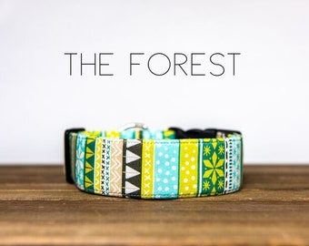 "Colorful Holiday Inspired Dog Collar ""The Forest"""