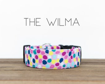 """Multicolor Whimsical Dotted Dog Collar """"The Wilma"""""""