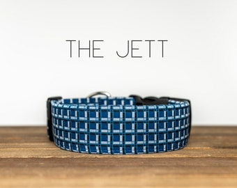 "Navy & White Geometric Plaid Dog Collar ""The Jett"""