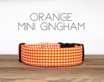 Orange Mini Gingham Dog Collar
