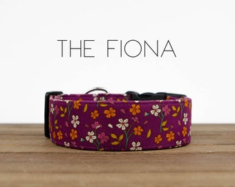 "Crimson, Rhubarb and Orange Vintage Fall Floral Dog Collar ""The Fiona"""