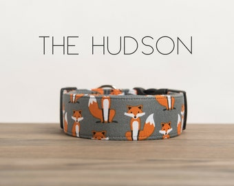 "Orange & Grey Fox Dog Collar ""The Hudson"""