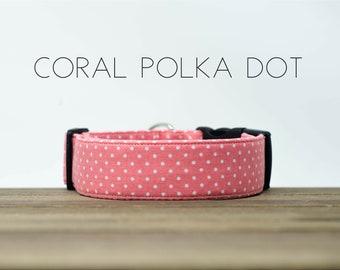 """Modern Classic Fashion Inspired Dog Collar """"Coral Polka Dot"""""""