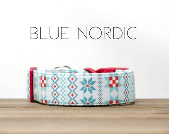 Holiday Blue Nordic Winter Inspired Dog Collar